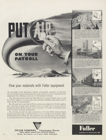 "1955 Fuller Company Vintage Advertisement Print Catasauqua, Penna ""Air on Your Payroll"" Black & White Print Ad Office Wall Art Decor"