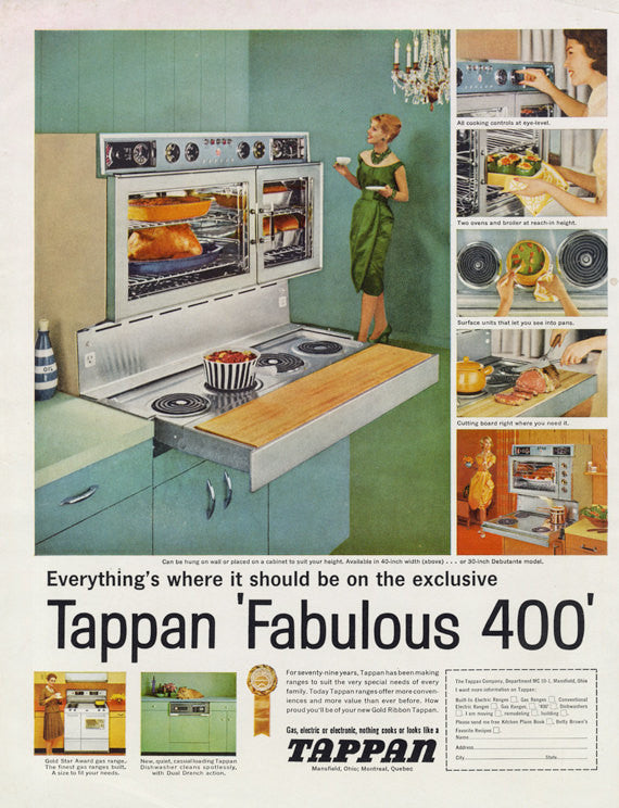 1961 Tappan Fabulous 400 Stove Oven Range Vintage Appliance Advertisement Print 60s Housewife Photo Retro Kitchen Wall Art Decor