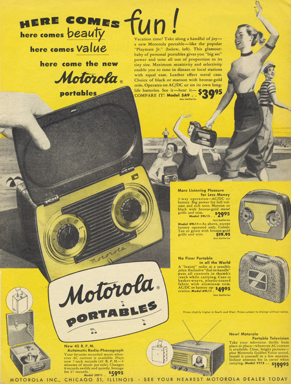 1949 Motorola Portable Radio Vintage Advertisement Music Technology Print Ad Yellow Wall Art Decor