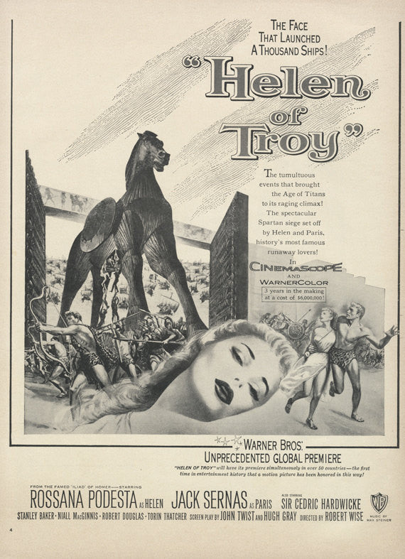 1955 Helen of Troy Vintage Movie Advertisement Collectible Film Memorabilia Print Wall Art Decor