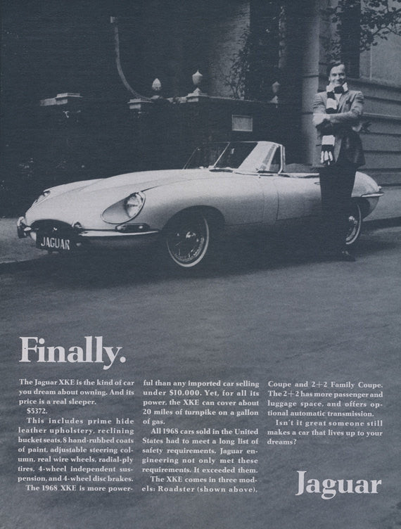 1968 Jaguar XKE Convertible Roadster Car Print Ad Vintage Automobile Advertisement Garage Wall Art Gift for Him