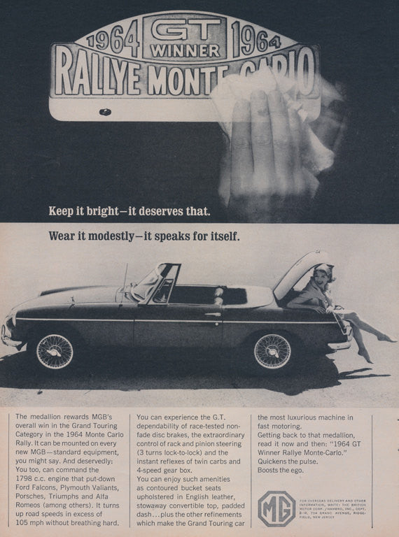 1964 MG Car Ad GT Winner Rallye Monte Carlo Vintage MGB Convertible Automobile Advertisement Print Photo Print Garage Wall Art Decor