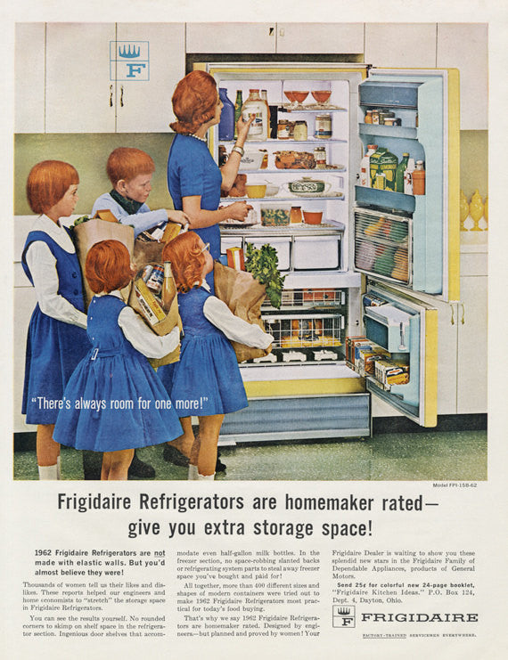 1962 Frigidaire Refrigerator Freezer Appliance Vintage Advertisement Mad Men Era Mother Children Mid Century Kitchen Photo Print Ad Retro Kitchen Wall Art
