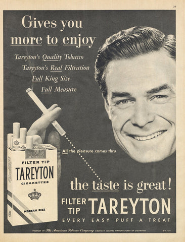 1956 Tareyton Cigarettes Ad Retro Man Photo Mid Century Vintage Tobacco Advertising Print Kitsch Bar Wall Art Decor