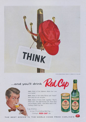 1956 Carling Red Cap Ale Beer Ad Vintage Advertisement Print Bar Man Cave Wall Art