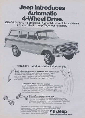 1973 Jeep Wagoneer Truck Ad Vintage Advertisement Print Wall Art Decor