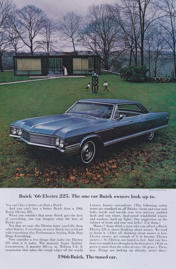 1966 Buick Electra 225 Car Ad Glass House New Canaan Connecticut Photo Print Advertisement Wall Art