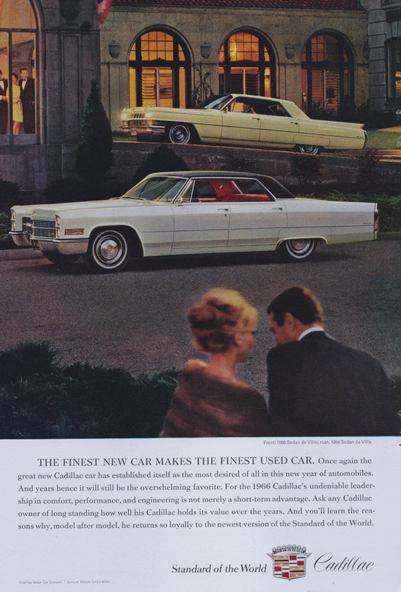 1966 Cadillac Sedan de Ville Car Ad Vintage Caddy Auto Advertisement Romantic Evening Couple Photo Print Wall Art Decor