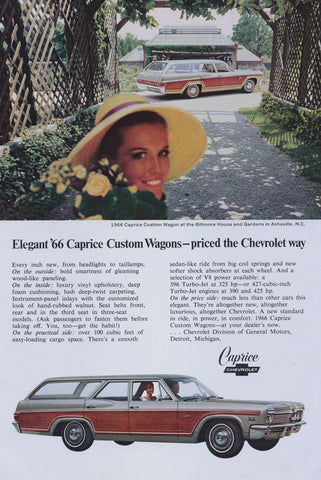 1966 Chevrolet Caprice Custom Wagon Vintage Auto Advertisement Biltmore House Gardens Asheville NC Photo Print Wall Art Decor