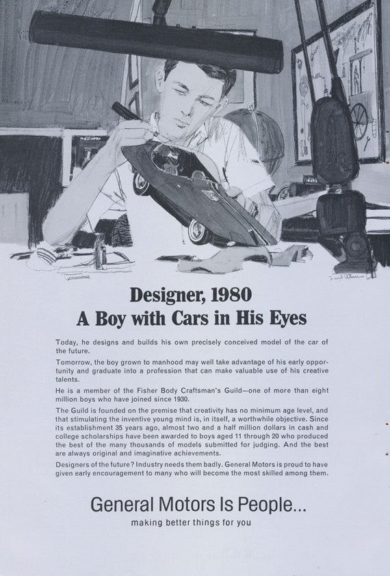 1966 General Motors Ad Fisher Body Craftsman's Guild Boy Designer 1980 Print Advertisement Wall Art Decor