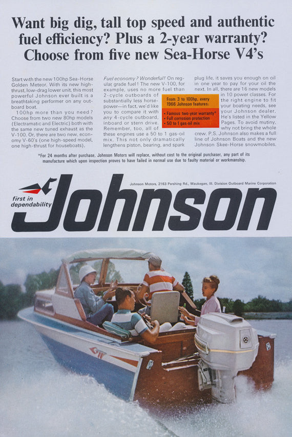1966 Johnson 100 hp Sea-Horse Golden Meteor Outboard Boat Motor Ad Retro Boating Photo Vintage Advertising Print Wall Art Decor
