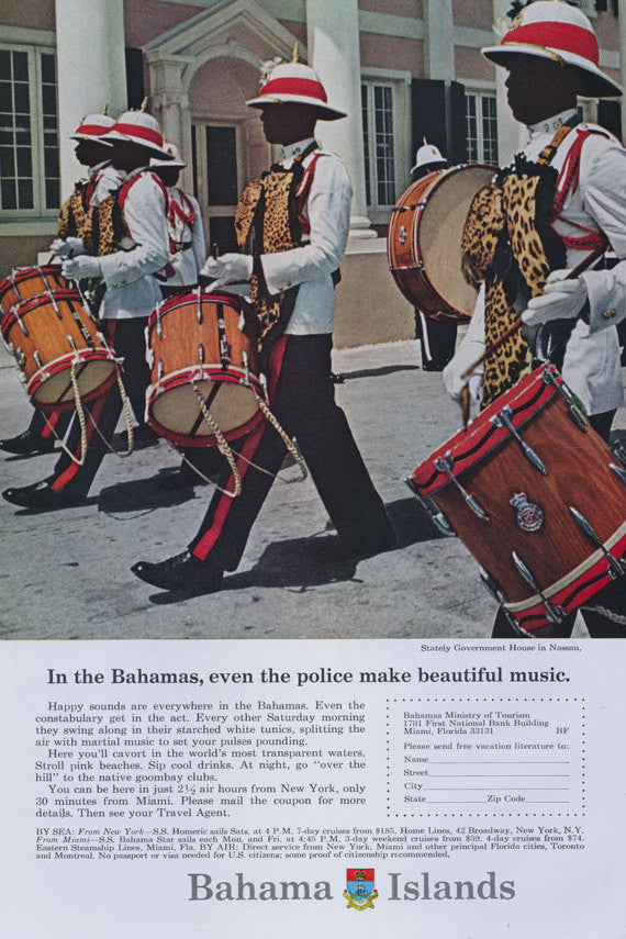 1966 Bahama Islands Travel Tourism Print Ad Vintage Advertisement Drummers Photo Wall Art Decor