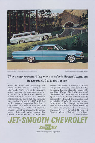 1963 Chevrolet Bel Air 6-Passenger Station Wagon and Chevy Impala Sport Coupe Car Ad Vintage Automobile Advertisement Print Wall Decor