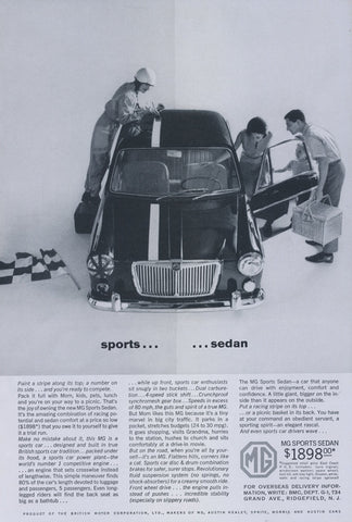 1963 MG Sports Sedan Car Ad Vintage Automobile Advertisement Print Wall Art Decor