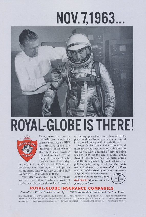 1964 Royal-Globe Insurance Companies Vintage Ad Astronaut Photo Print Advertisement Wall Art Decor
