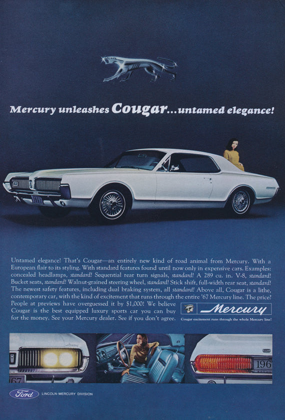 1967 Ford Mercury Cougar Muscle Car Photo Ad Vintage Auto Advertisement Print Garage Wall Decor Print
