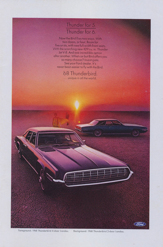 1968 Ford Thunderbird 4-Door & 2-Door Landau T-Bird Classic Vintage Advertisement Print Sunset Photo Garage Man Cave Wall Art Decor