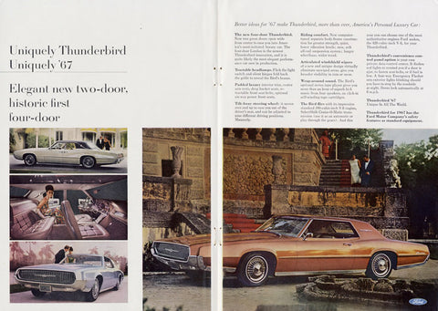 1967 Ford Thunderbird Classic Car T-Bird Ad Vintage Auto Advertisement Print Garage Wall Art Decor