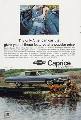 1968 Chevrolet Caprice Coupe Car Ad Vintage Chevy American Automobile Advertisement Print Wall Art Decor