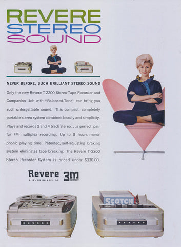 1961 Revere Stereo Ad T-2200 Tape Recorder FM Multiplex Recording Vintage Sound Technology Advertisement Mod Wall Art Decor