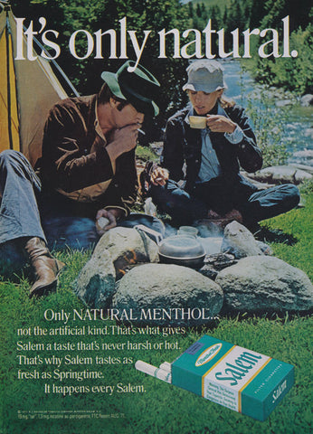 1971 Salem Menthol Cigarettes Vintage Ad 70s Couple Camping Photo Print Smoking Advertisement Retro Wall Art