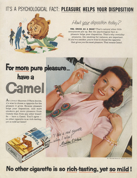 1955 Camel Cigarettes Ad Movie Star Maureen O' Hara Photo Print Vintage Tobacco Advertising Bar Pub Wall Art Home Decor