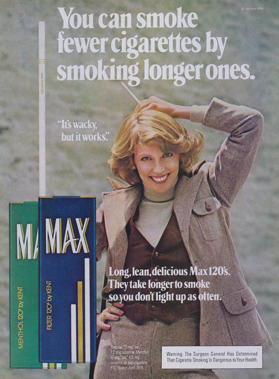 1976 Max Cigarettes Vintage Ad Smoking Longer Ones 70s Smoking Woman Photo Print Advertisement Retro Wall Art Decor