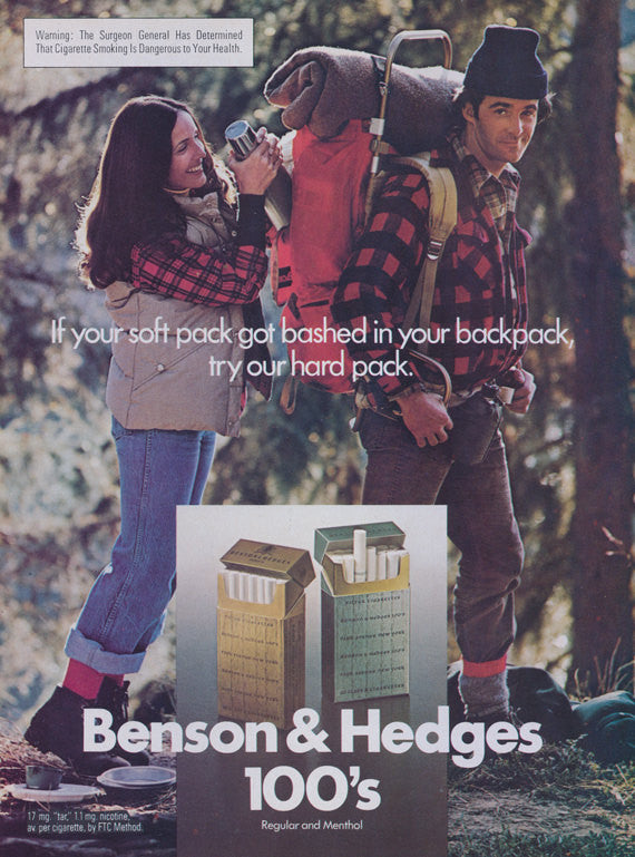1970s Benson & Hedges 100's Cigarette Ad Soft Pack Hard Pack Backpack Camping Couple Photo Vintage Tobacco Advertising Print Wall Art Decor