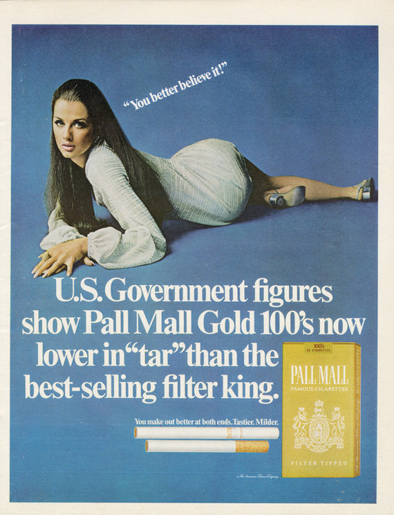 1969 Pall Mall Cigarettes Ad Young Woman Provocative Pose Photo Tobacco Print Advertisement Wall Art Decor