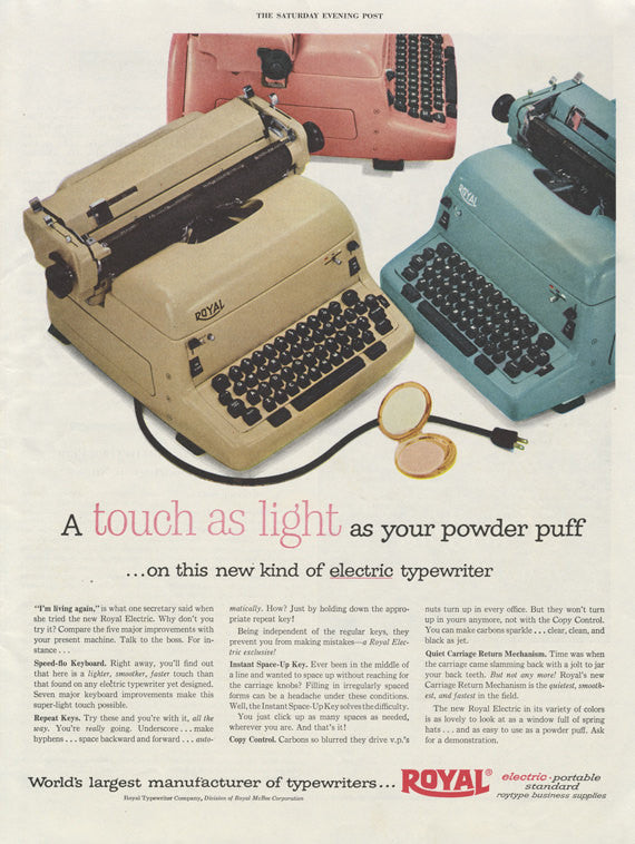 1955 Royal Typewriter Advertisement Vintage Print Ad Mid Century Retro Office Wall Art Decor