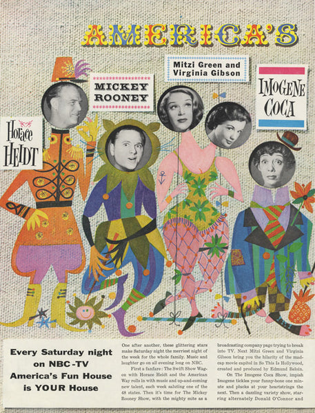 1955 NBC Television Advertisement 2-Page Vintage Print Advertisement America's Fun House Saturday Night TV Shows Colorful Wall Art Decor