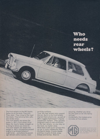 1965 MG Sports Sedan Car Ad Vintage Auto Advertisement Print Wall Art Decor