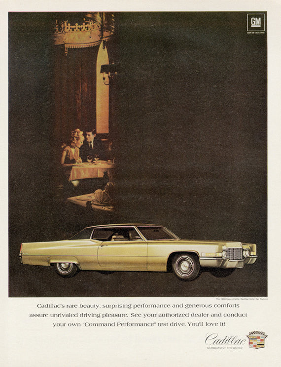 1969 Cadillac Coupe de Ville Car Ad Vintage Advertising Print Wall Art Decor