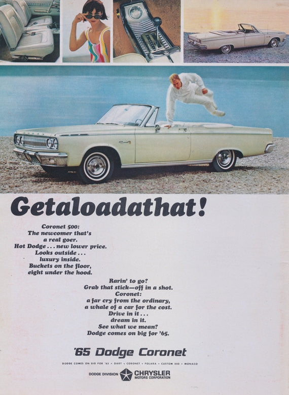 1965 Dodge Coronet 500 Convertible Advertisement Getaloadathat! 60s Automobile Car Print Ad Garage Wall Decor Art