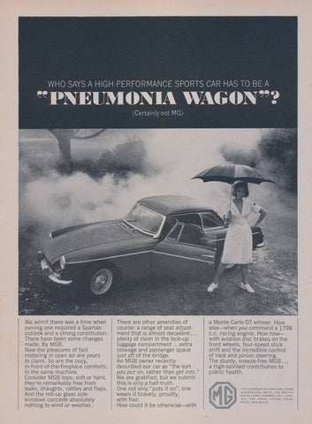 "1965 MG Rare Sports Car Ad ""Pneumonia Wagon"" Nurse Photo Vintage 60s Automobile Advertisement Print Wall Art Decor"