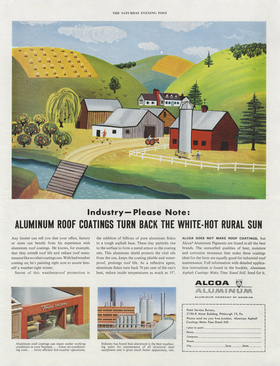 1954 Alcoa Aluminum Vintage Advertisement Print Farm Illustration Art Wall Decor
