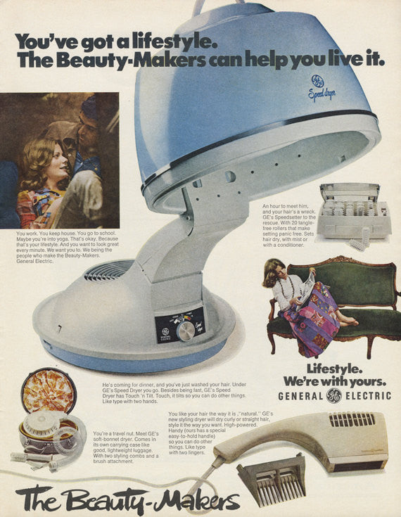 1972 General Electric Beauty-Makers Ad Vintage Hair Style GE Appliance Advertisement Print Bathroom / Salon Wall Art Decor