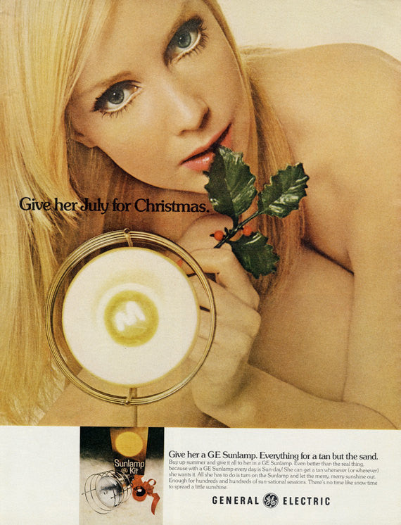 1973 General Electric Sunlamp Advertisement Christmas in July Vintage GE Print Ad Sexy Blonde Woman Photo Bathroom Tanning Salon Wall Art