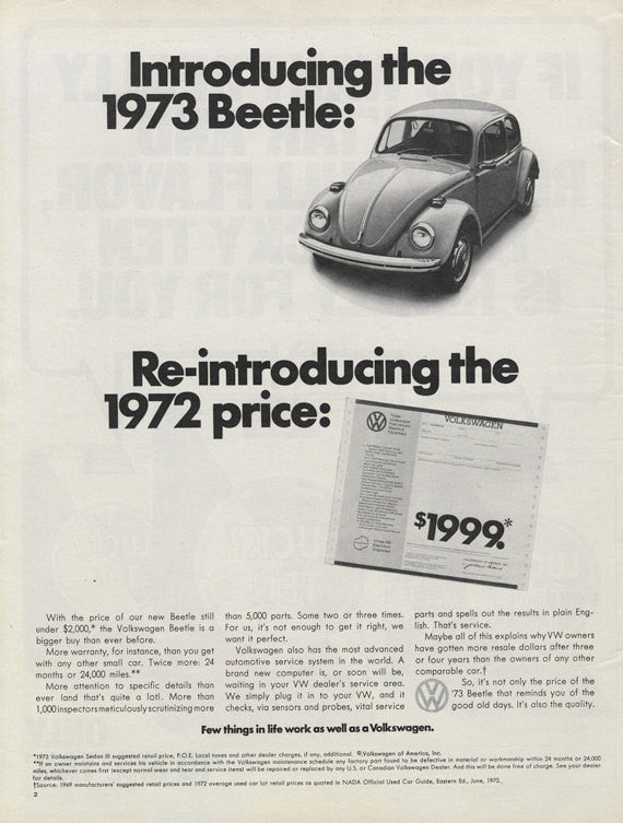 1973 VW Beetle Ad Volkswagen Bug Vintage Auto Car Advertisement Print Wall Art Decor