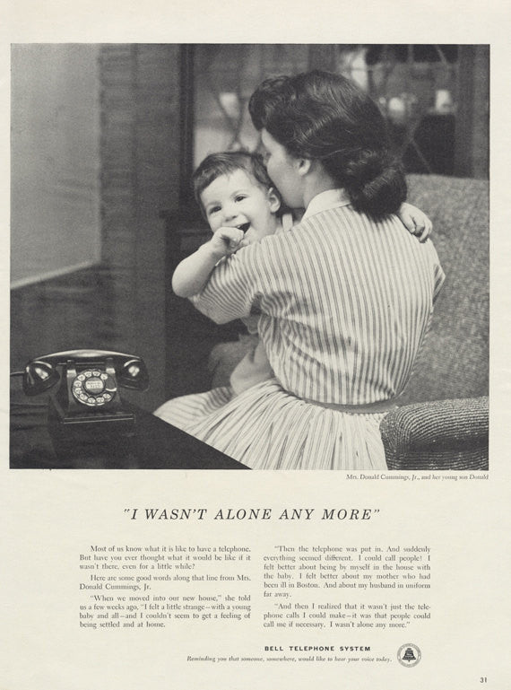 1955 Bell Telephone Ad Mother & Child Photo 1950s Vintage Phone Technology Advertisement Print Wall Art Decor