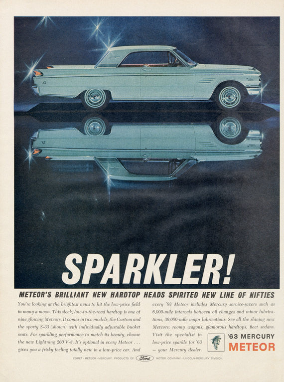 1963 Ford Mercury Meteor Classic Car Ad Sparkler! Vintage Automobile Advertisement Print Wall Art Decor