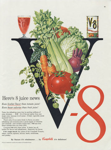 1955 V-8 Vegetable Juice Cocktail Ad Colorful Veggies Healthy Food Photo Vintage Advertising Art Kitchen / Cafe Print Wall Decor