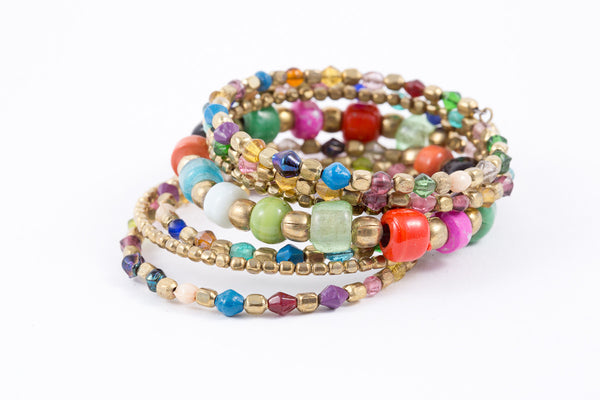 Bracelet -Coil-Glass (see colors) - Mishu Boutique