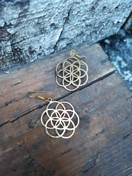 Large Flower of Life Earrings EAR44 - Mishu Boutique