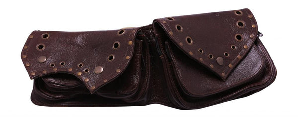 Leather Utility Double Pocket Belt - Mishu Boutique