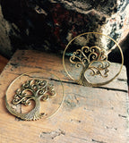 Tree of life Brass Thread Scroll Earrings - Mishu Boutique