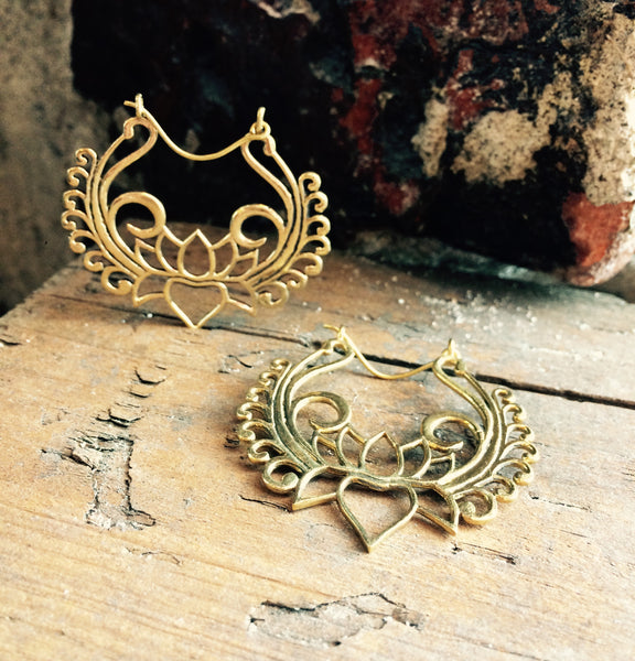 Brass Lotus Yantra Hoops - Mishu Boutique
