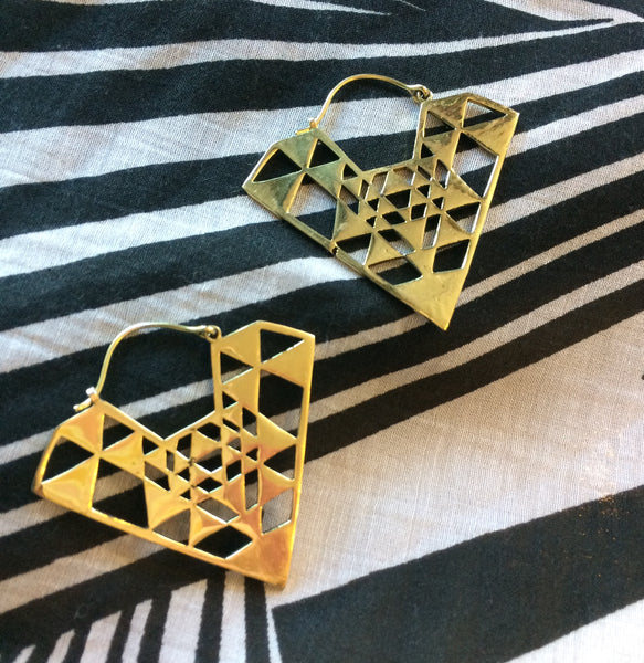 Angle Fusion Brass Hoops - Mishu Boutique