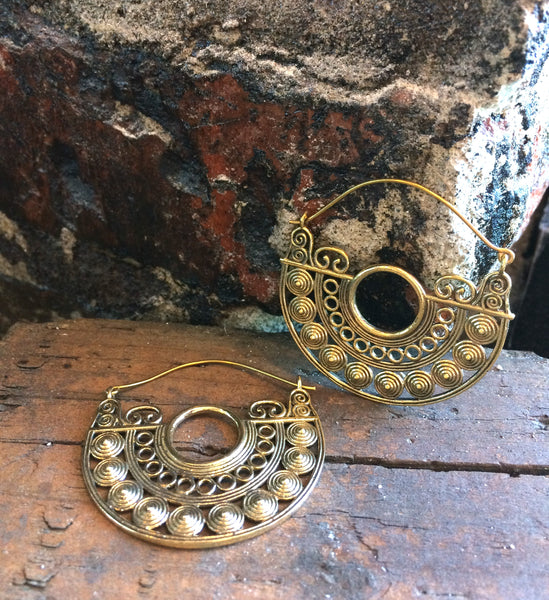 Half Circle Brass Hoops - Mishu Boutique