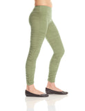 M056A Rouched Leggings - Mishu Boutique
